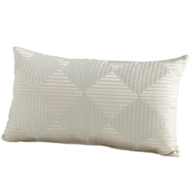 Contemporary Cyan Designs Contemporary Embroidered Harlequin Pale Green Shine Lumbar Pillow For Sale - Image 3 of 3
