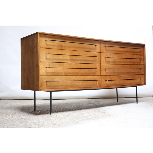 Mid-Century Modern Milo Baughman for Murray Eight-Drawer Chest in Maple and Iron For Sale - Image 3 of 13