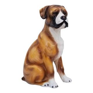 1970s Vintage Italian Ceramic Boxer Dog Sculpture For Sale