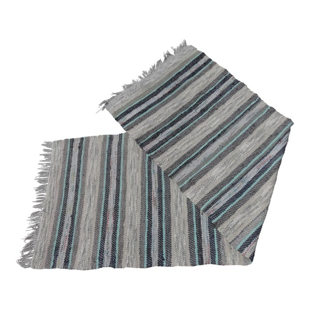 Swedish Vintage Hand Woven Rag Rug - 2′5″ × 7′5″ - Image 1 of 3