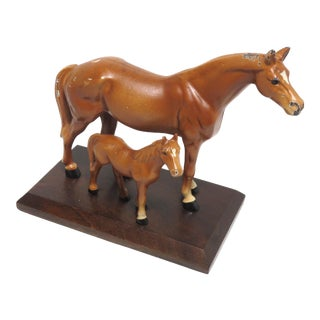 Vintage Hubley Cast Iron Mare & Foal Horse Figures on Stand For Sale