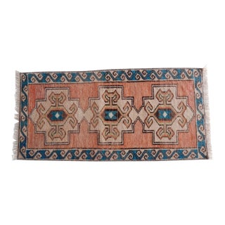 Turkish Small Rug Hand Made Bath Mat Faded Mini Rug, Door Mat 1′4″ × 2′8″ For Sale