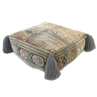 Vintage Blue Silk Turkish Pouf For Sale