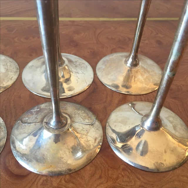 Silver Plated Goblets Flutes Glasses - 8 For Sale - Image 4 of 9