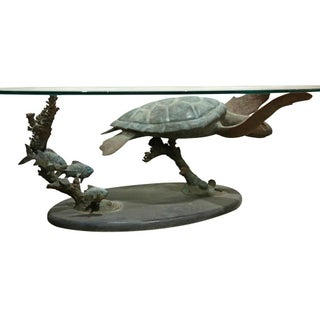 Limited Edition Oval Glass Top Bronze Green Sea Turtle Cocktail Table Titled Honu Solo by Dale Evers Preview
