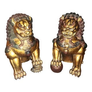 1960's Vintage Cast Iron Foo Dogs-a Pair For Sale