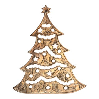 Brass Christmas Tree Trivet For Sale