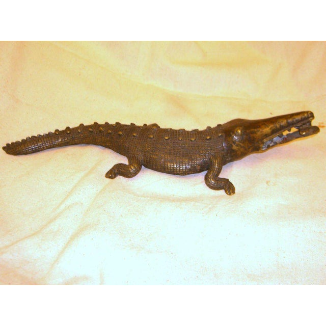 Late 20th Century African Bronze Crocodile Model For Sale - Image 9 of 9