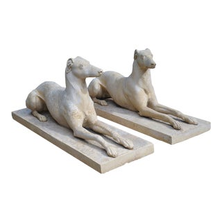 Pair of Composite Stone Greyhounds From England For Sale
