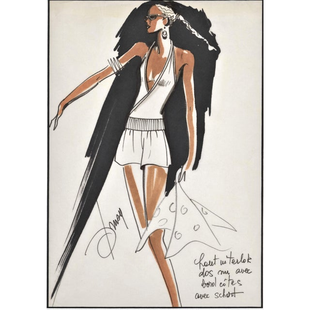 "RARE! This is a matted original 1980's fashion design from a French designer, Drusy Passerini. Drusy was a ""stylist..."