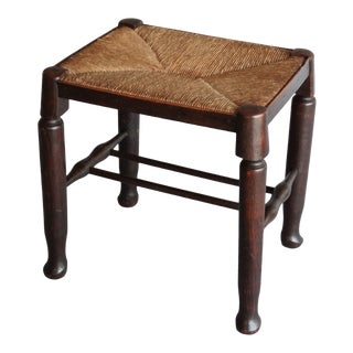 Antique English Rush & Oak Footstool For Sale