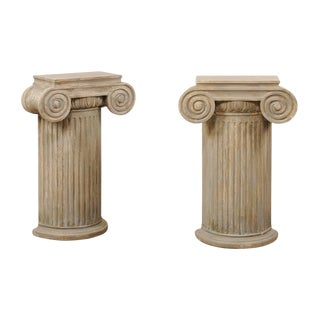 Vintage Carved Wood Ionic Fluted Column Pedestals-a Pair For Sale