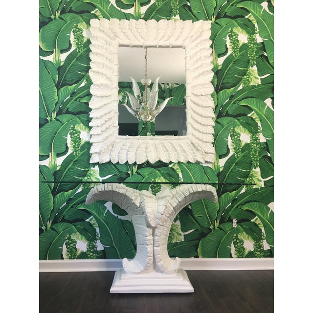 Sculptural Palm Leaf Console Table and Mirror After Serge Roche & Dorothy Draper For Sale - Image 9 of 9