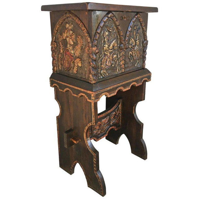 20th Century Carved and Polichromed Cabinet Bar on Stand Varqueno, Buffet, Spain For Sale - Image 13 of 13