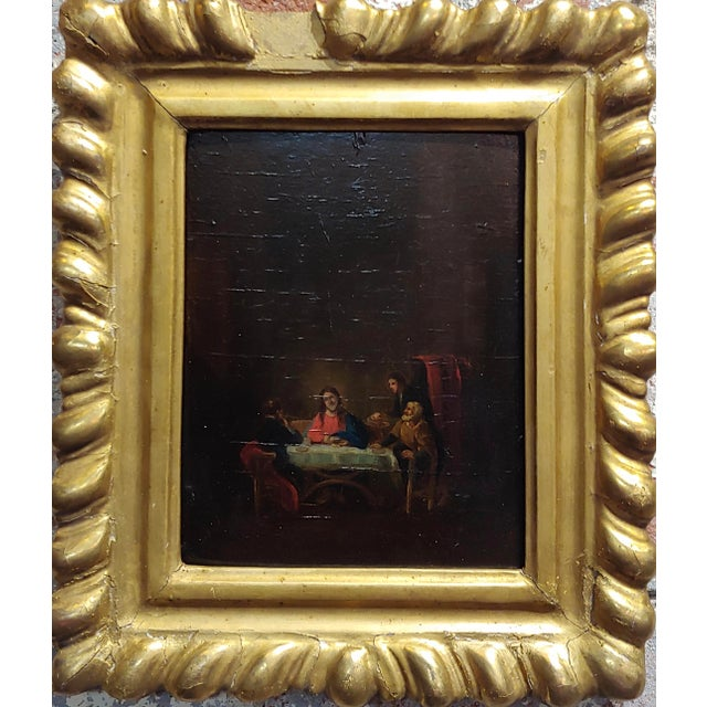 This listing is for an 18th century Flemish Oil painting depicting a supper with Jesus. oil panting on board circa...