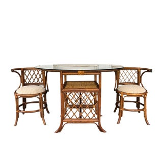 1960s Chinoiserie Tiger Wood Tortoise Bamboo Rattan Wicker and Cane Dining Set or Conversation Table - 3 Pieces For Sale