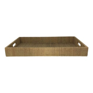 Large Organic Rectangular Natural Grass Cloth Coffee Table Serving Tray With Handles For Sale