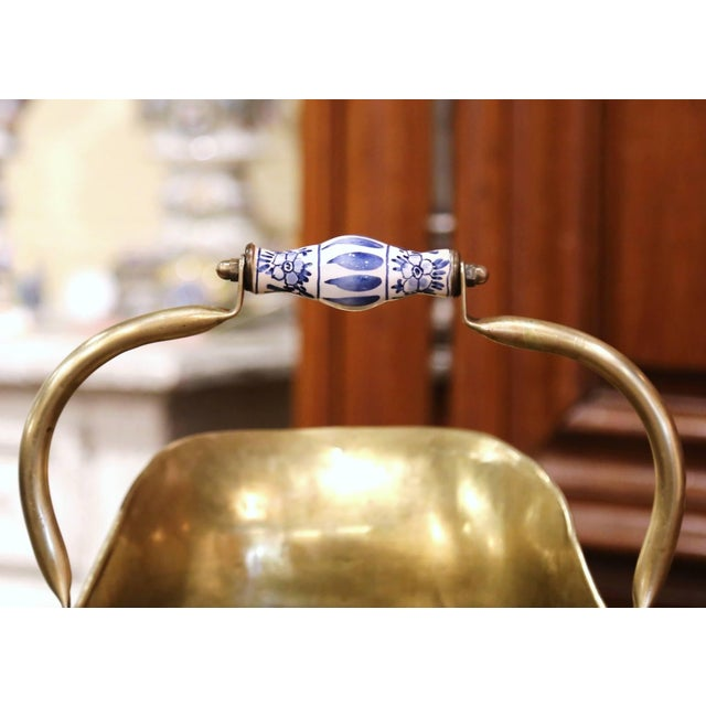 Brass Mid-19th Century French Brass, Bronze and Porcelain Coal Bucket For Sale - Image 8 of 12