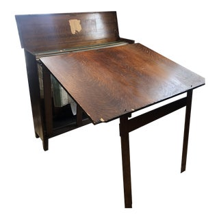 Antique Arts and Crafts Oak Yawman & Erbe Very Scarce Map/Blueprint Cabinet Fold Out Drafting Table For Sale