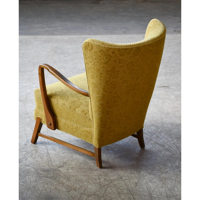 1940s Danish 1940s Midcentury Fritz Hansen Style High Back Lounge Chairs - a Pair For Sale - Image 5 of 9