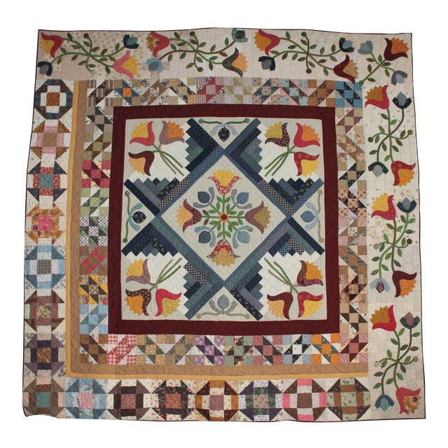20th Century Amazing Center Star Medallion Quilt - Image 1 of 9