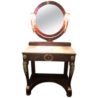 Early 19th Century Period Empire Vanity Desk With Mirror and Sconces For Sale