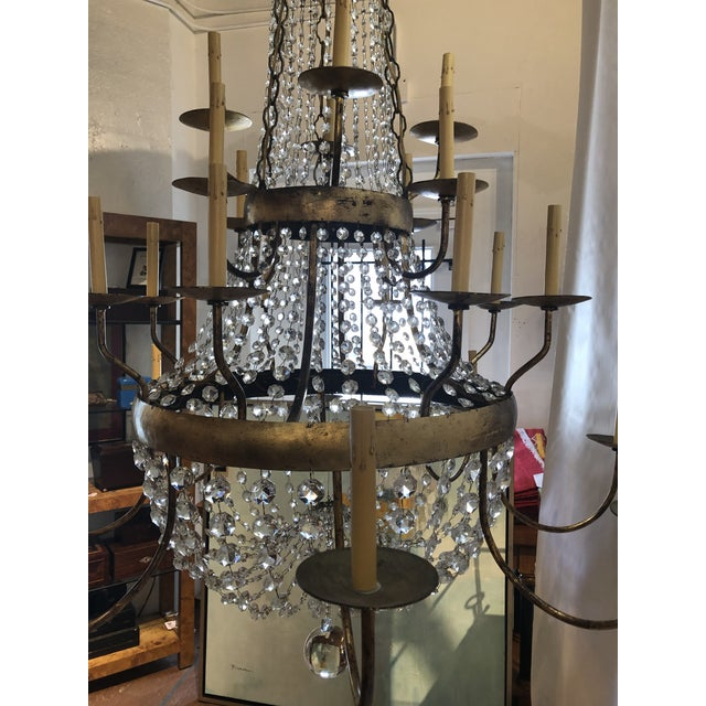 Vintage French Gilt and Crystal 24 Arm Chandelier For Sale In Atlanta - Image 6 of 13