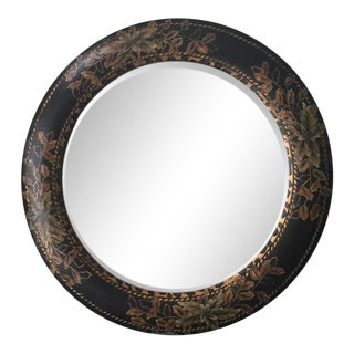 John Richard Large Round Wood Hand Painted Flower Leopard Beveled Mirror For Sale