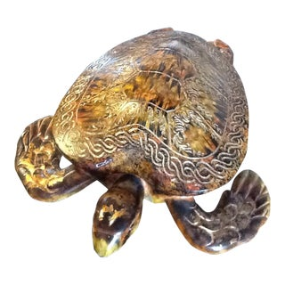 Hand Crafted Decorative Wooden Turtle Box With Hinged Lid For Sale