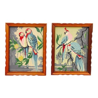 Vintage Framed Tropical Bird Paint By Numbers Paintings - A Pair For Sale