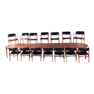 Massive Mid-Century Teak Conference Table with Set of 14 Eric Buck Dining Chairs For Sale