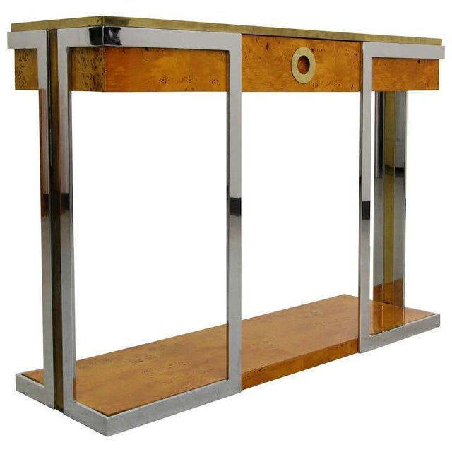 Willy Rizzo Mid-Century Italian Burl Wood Console - Image 1 of 8