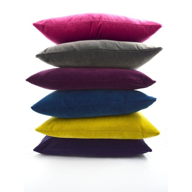 Contemporary FirmaMenta Italian Solid Burgundy Velvet Pillow For Sale - Image 3 of 6