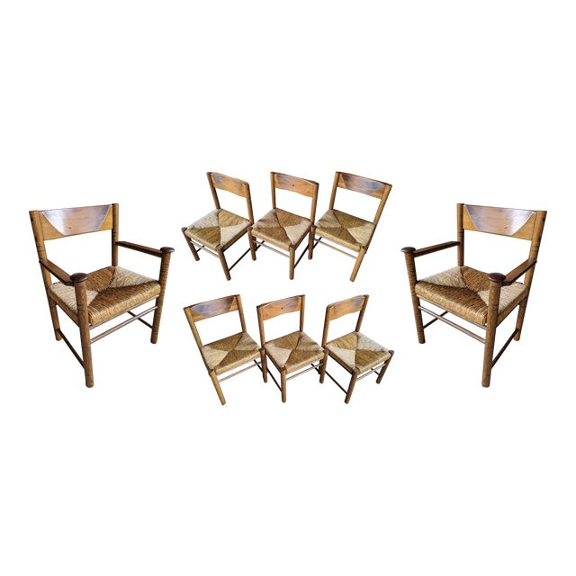 Charlotte Perriand-Style Vico Magistretti-Style Rush Chairs, Set of 8 For Sale
