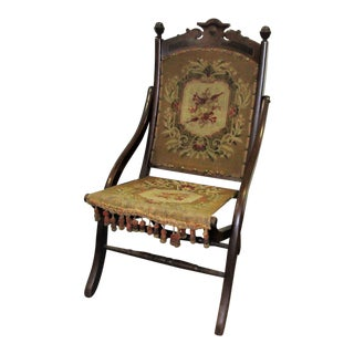 Late 19th Century Antique Folding Tapestry Chair For Sale