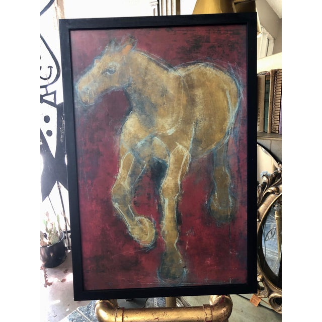 Contemporary Figurative Reverse-Color Framed Hearting Horses Prints - a Pair For Sale - Image 3 of 12