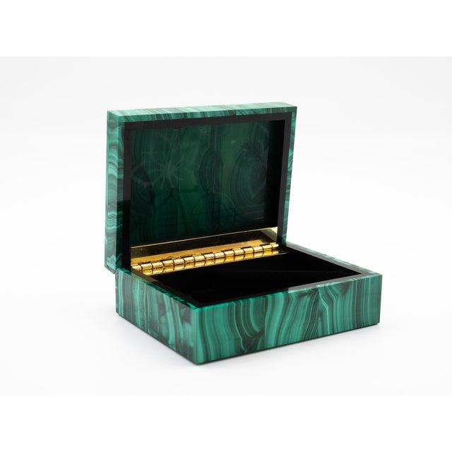 Contemporary Malachite Semi-Precious Stone Box For Sale - Image 3 of 8