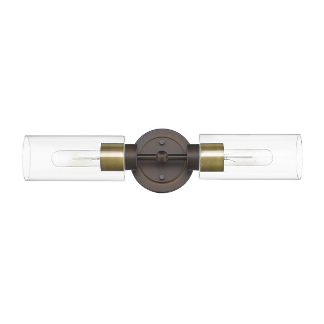 Brooklyn 2 Light Sconce/Vanity, Oiled Bronze and Antique Brass For Sale