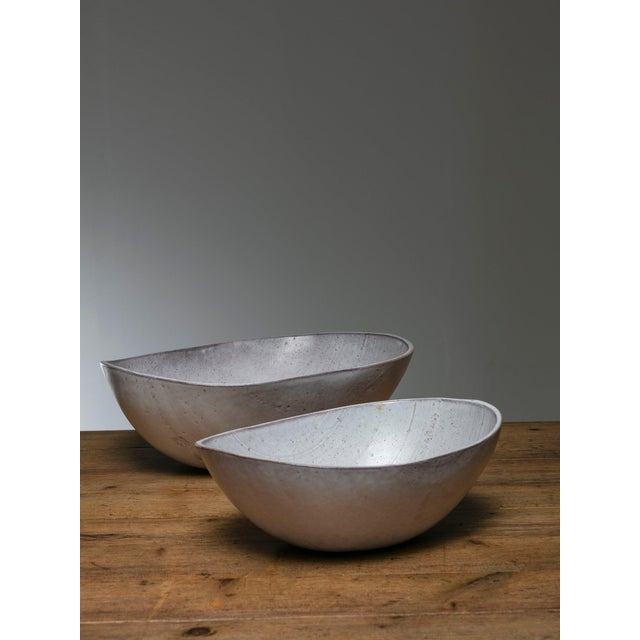 Remarkable pair of large ceramic bowls by Alessio Tasca.