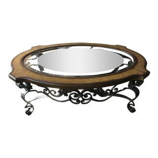 Ernest Hemingway Oval Iron & Glass Coffee Table For Sale