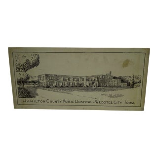 Vintage Sign of Hamilton County Public Hospital, Webster City, Iowa For Sale