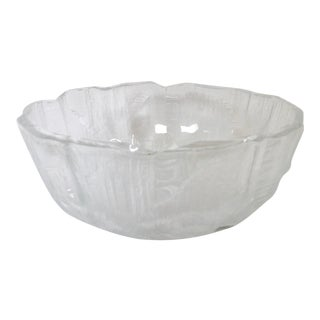 1960's Scandinavian Texturized Ice Glass Bowl For Sale