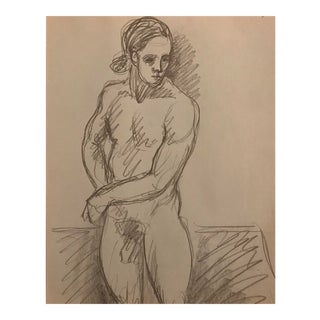 1970s Vintage Male Nude With Ponytail Drawing by James Bone For Sale