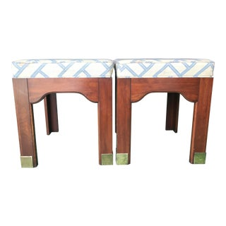 Vintage Pennsylvania House Wood and Brass Feet Ottomans-A Pair For Sale