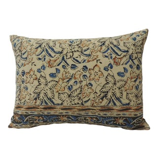 Vintage Indian Hand-Blocked Artisanal Textile Decorative Bolster Pillow For Sale