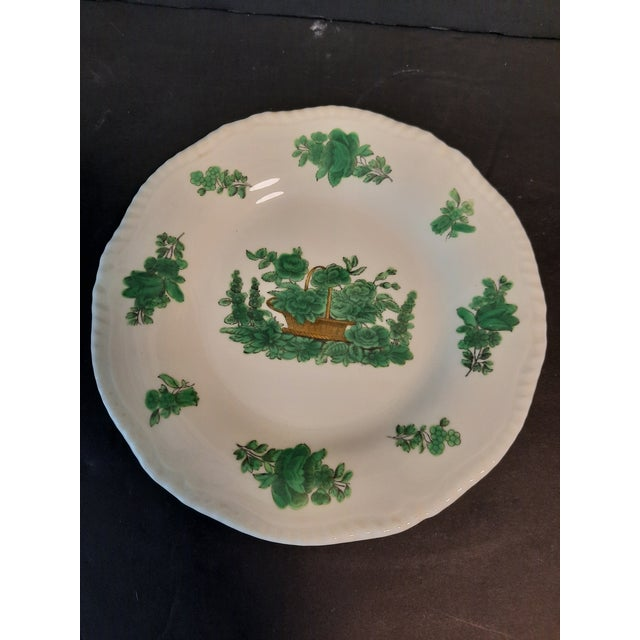 Estate sale found, I love this set of green and cream English floral china dessert plates from Spode Copeland.