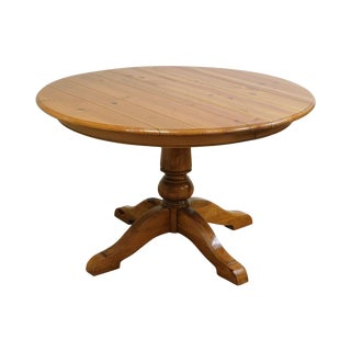 "Ethan Allen Farmhouse Pine 48"" Round Dining Table With 2 Leaves For Sale"