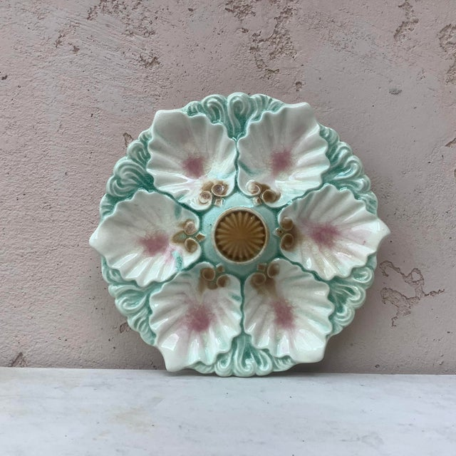 French Late 19th Century Majolica Handled Oyster Plate Orchies For Sale - Image 3 of 6