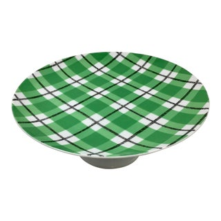 Vintage Fitz and Floyd Plaid Pedestal Cake Plate For Sale