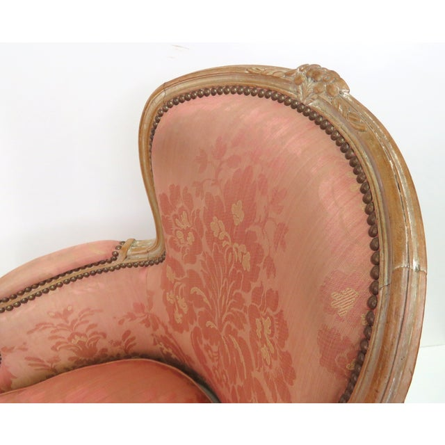 Distressed Painted Louis XV Style Chaise & Ottoman - Image 2 of 5